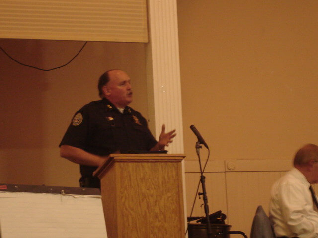 Orangetown Police Chief Kevin Nulty speaks at Nyack Center on 5/17/2008