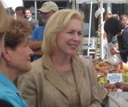 Senator Kirsten Gillibrand, Assemblywoman Ellen Jaffee at Nyack Farmer's Market on Aug 26, 2010.