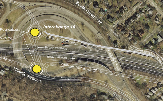 One of two proposed reconfigurations for I-287 Exit 10 in S. Nyack. This plan was abandoned with the bridge-only approach announced by the governor in Oct, 2011.