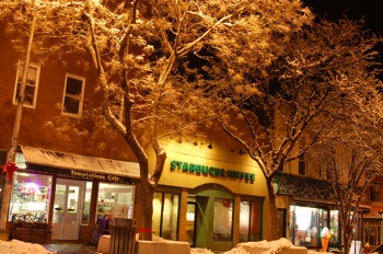 Starbucks, Temptations on Main Street in Nyack,  Jan 8, 2011