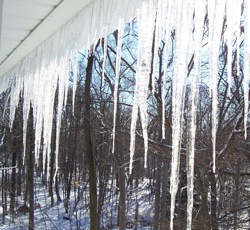 Icicles On Roof. Photo Credit: Dave Zornow, Feb 2006