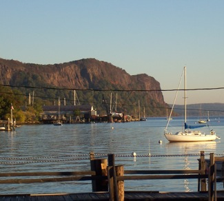 Hook Mtn Boats, from Gedney Street in Nyack. Photo Credit: Dave Zornow