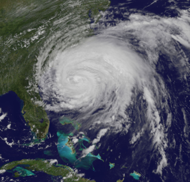 This visible image of Hurricane Irene was taken from the GOES-13 satellite on 8/26/11 at 1:40 p.m. EDT. The extent of Irene's 600 mile wide cloud cover can be seen covering a third of the U.S. east coast.