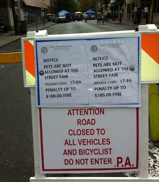 Nyack Street Fair, 9/25/2011. No Dogs, No Bikers. 201109