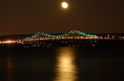 Tappan Zee Bridge with full moon, Apr 2011. Photo Credit: Dave Zornow