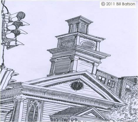 Nyack Sketch Log: Nyack Center. Copyright Bill Batson 2011