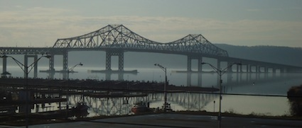 Tappan Zee Bridge from Tarrytown Train Station, 12/31/2011. Credit: Dave Zornow