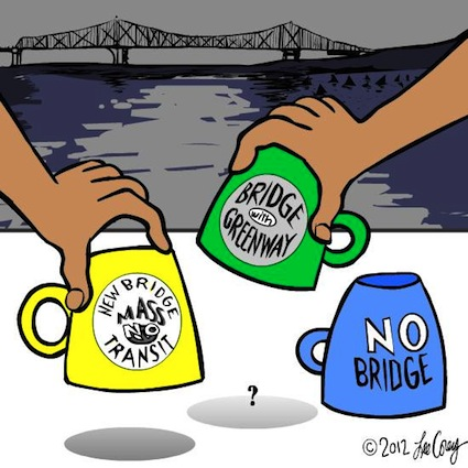 CoreyToons: Tappan Zee Bridge Shell Game. ©2012 Lee Corey