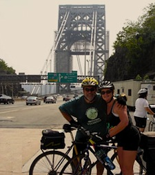 Bikers pause for a picture at the George Washington Bridge during the last leg of the annual six day Great Hudson Pedal from Albany to New York City.