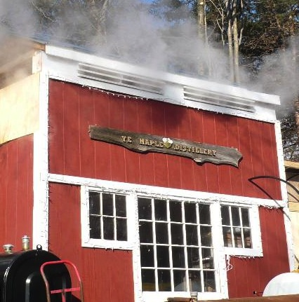 """Ye Maple Distillery,"" aka The Sugarhouse at the Hummingbird Ranch where the evaporator and pressure filter are located. Photo Credit: Hummingbird Ranch"