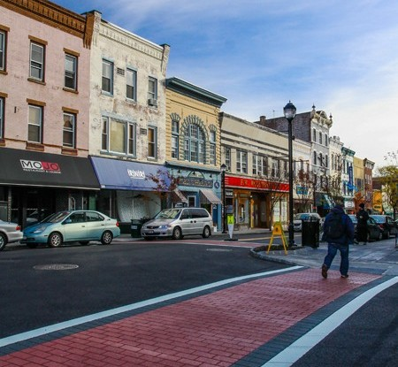 Clouds, Crosswalk and Storefronts, Nyack