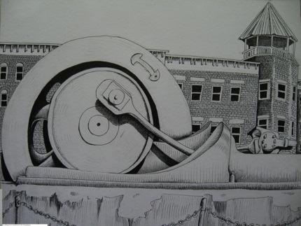 NSL98 Flywheel Park, Piermont. Illustration ©2014 Bill Batson