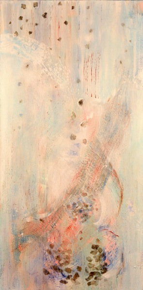 "Jasmine's Heart, 40"" x 28"", acrylic, mica on canvas, 2013"