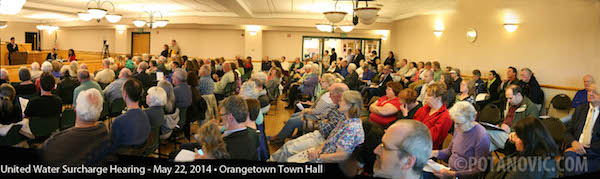 A capacity crowd attended the Orangetown Public Hearing on the $56.8 million Surcharge Case on Thursday night, May 22. Rockland County Legislature Chair, Alden Wolfe, announced the NYS Public Service staff recommendation to delay any construction of United Water's proposed desalination plant until at least 2020. Meanwhlle, the County of Rockland will be assemblying a task force to develop more sustainable water management and conservation measures. PHOTO: © 2014, George Potanovic, Jr.