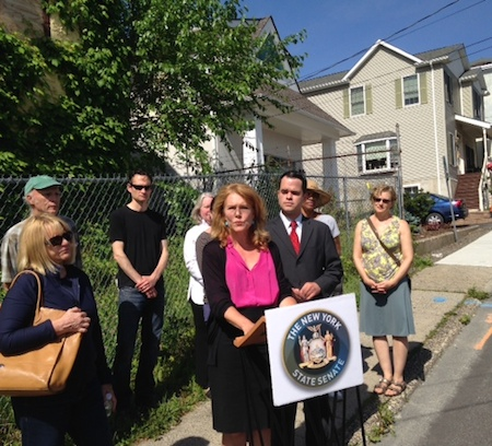 "Nyack mayor Jen White and NYS Senator David Carlucci at the ""zombie"" abandoned property, John Green House, Main St Nyack NY, 201406"