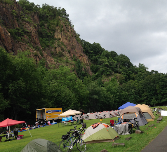 Cyclists camping on the Upper Plateau of Nyack Beach State Park on 8/2/2014