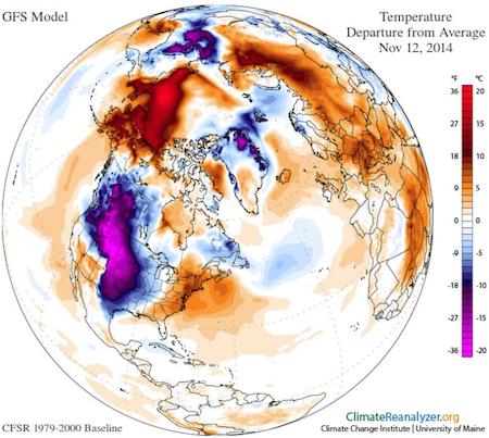 World Weather Temps 20141112 ClimateReAnalyzer.org Univ of Maine