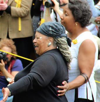 Author toni Morrison with Nyack Village Clerk Mary White. Photo Credit ©2015 Elijah Reichlin-Melnick