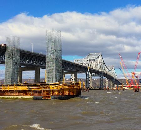TZB / New NY Bridge, 1st ILiftNY Supercrane Lift, 5/24/2015. Photo Credit ©2015 Dave Zornow