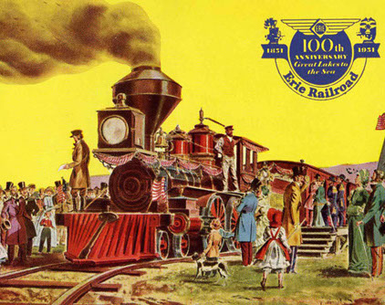 """1951 postcard celebrating the 100th anniversary of the Erie Railroad from May 14-15, 1951. """"It was a great day on May 15 1851 when the ...Erie Railroad completed its front run from Piermont-on-Hudson to Dunkirk-on-Lake-Erie. It was the longest railrod in the US -- 446 miles. Here was a great example of spirit that built America and made it great."""" -- Photo Credit: Piermont Hustorical Society"""