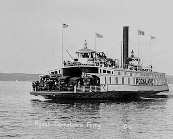 "1921 photo of ""The Rockland,"" a ferry, on river between Nyack and Tarrytown, New York.   Photo Credit: Library of Congress"