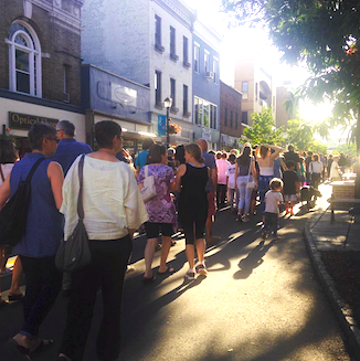 Marchers walk west on Nyack's Main Street at 6/16/2016 rally for victims of the Orlando shooting. Photo Twitter / ellebee17