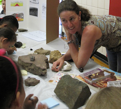 Tree-ring expert (and Liberty mom) Nicole Davi talks rocks with Kindergarteners