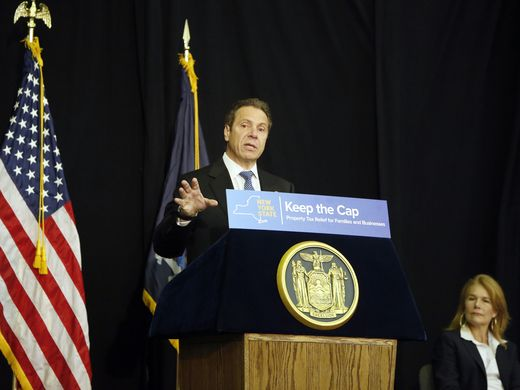 Gov. Andrew Cuomo speaking about the tax cap at Nyack Center