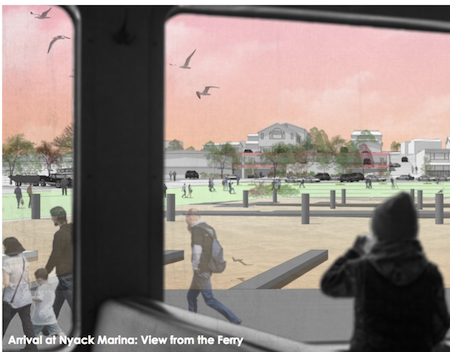 Artist's conception: a future ferry arrives at the Nyack marinarrivalatnyack