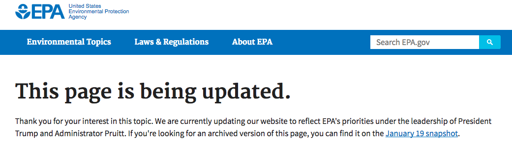 US EPA Climate web page
