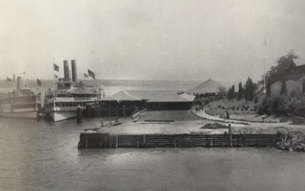 Dayliner ships docked at Hook Mountain Beach, Nyack Beach State Park