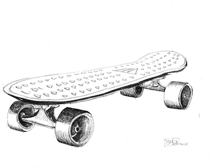 Black & White Roller Skateboard Sketch - Vector download